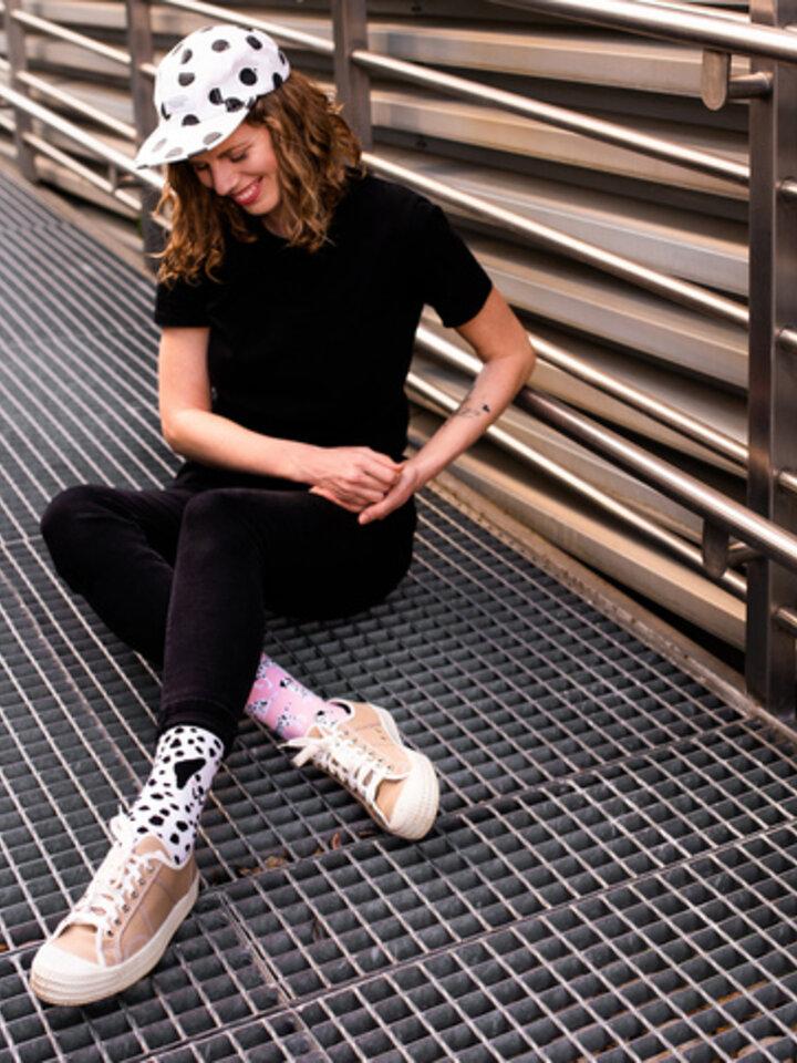 Lifestyle photo Good Mood Eco Friendly Socks Pink Dalmatians