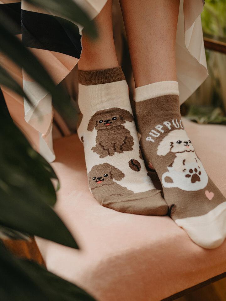 Výpredaj Členkové veselé ponožky Puppucino