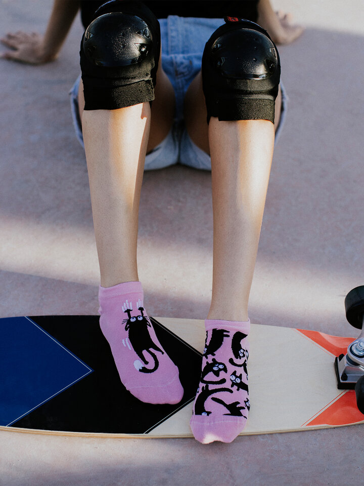 Sale Ankle Socks Pink Cats