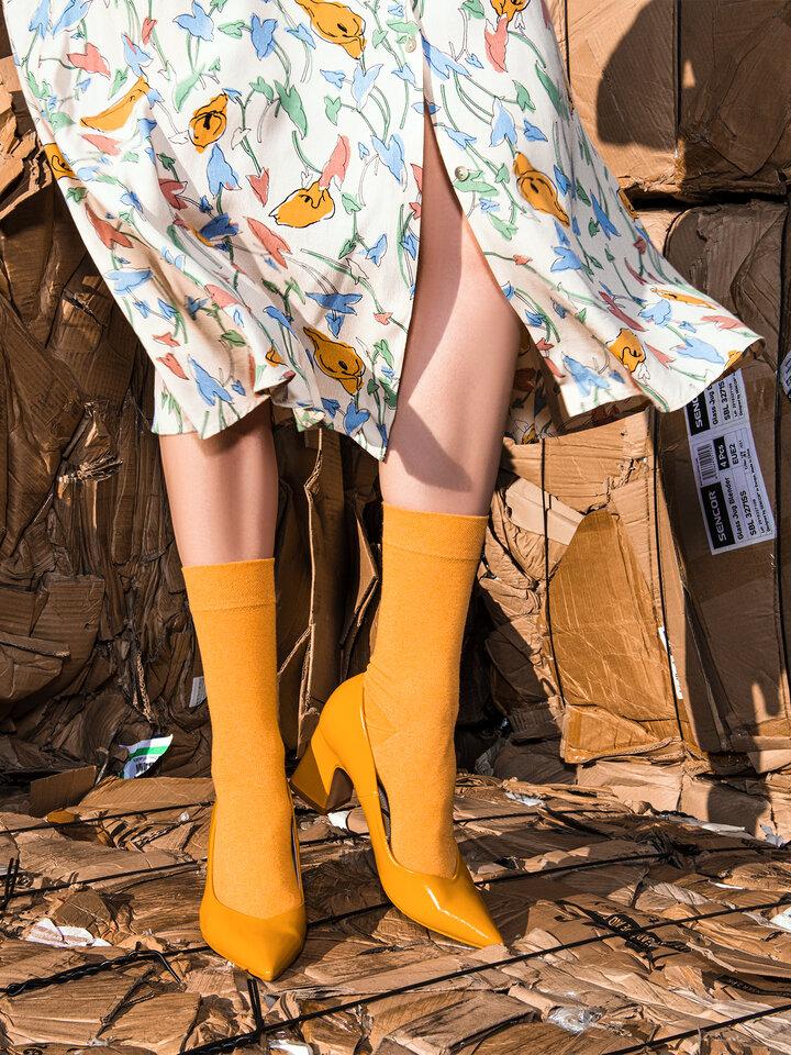 Foto Ponožky z recyklované bavlny Jantar