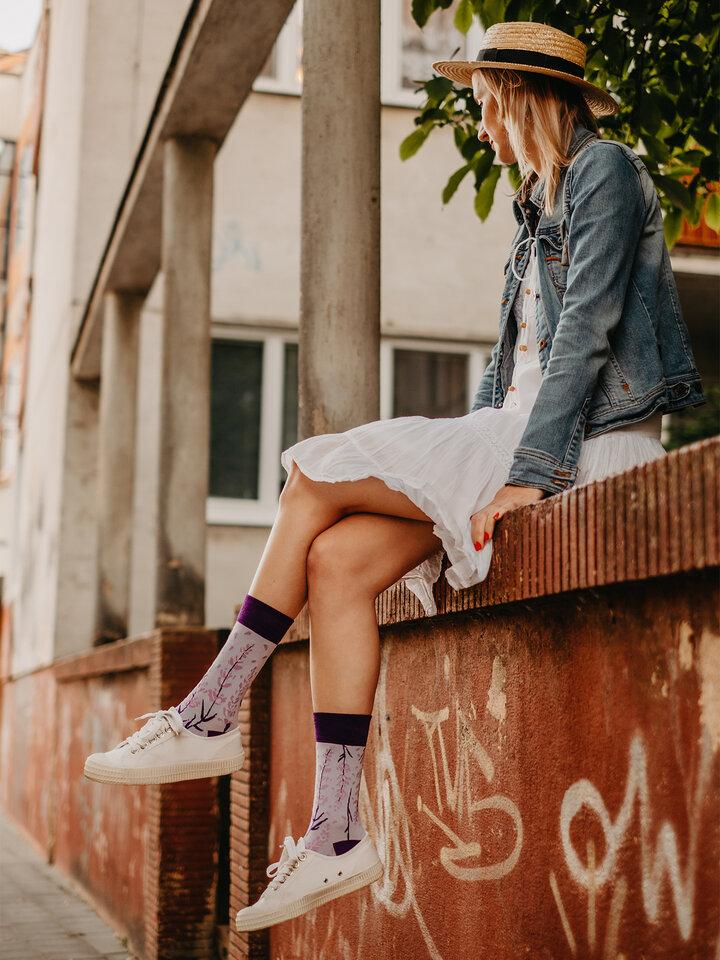 Pre dokonalý a originálny outfit Vrolijke bamboe sokken Lavendel