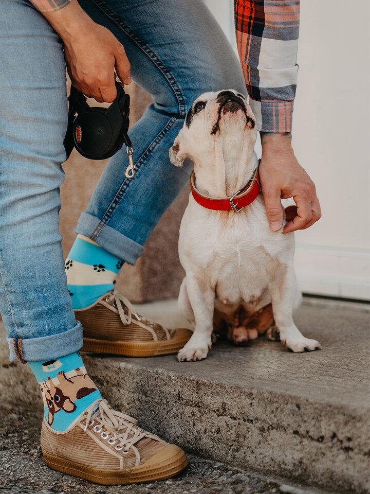 Výpredaj Vrolijke sokken Honden en strepen