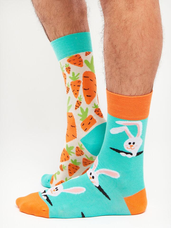 Foto Veselé ponožky Mrkva a zajac