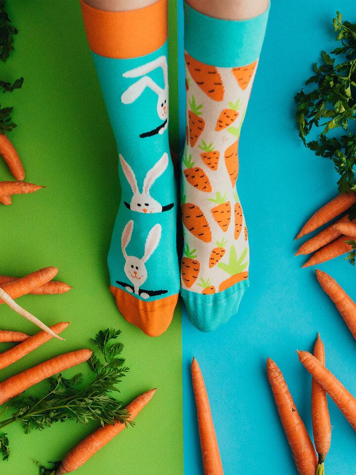 Pre dokonalý a originálny outfit Veselé ponožky Mrkva a zajac