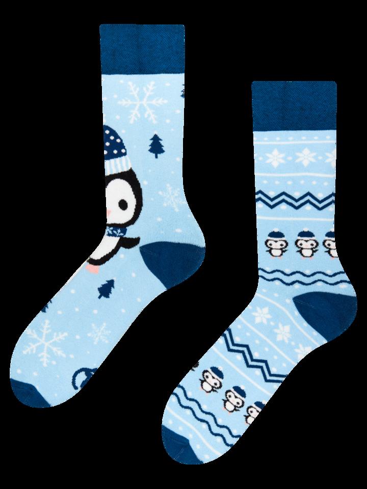 Pre dokonalý a originálny outfit Darčeková krabička teplých ponožiek Tučniak a snehuliak