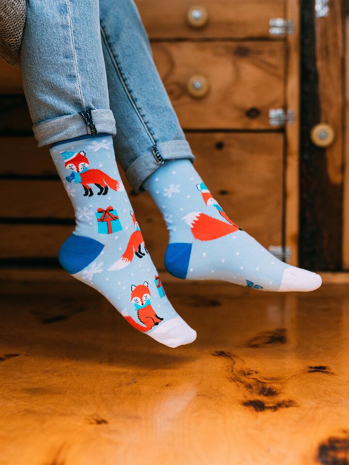 Foto Veselé ponožky Zimní liška