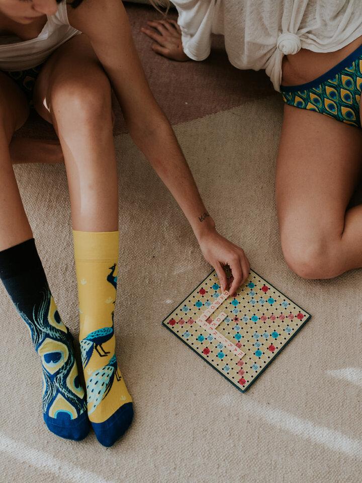Lifestyle foto Vrolijke sokken Pauw