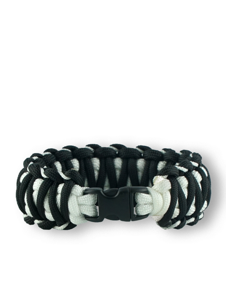 Indicație pentru cadou Brățara paracord negru-alb Zebra