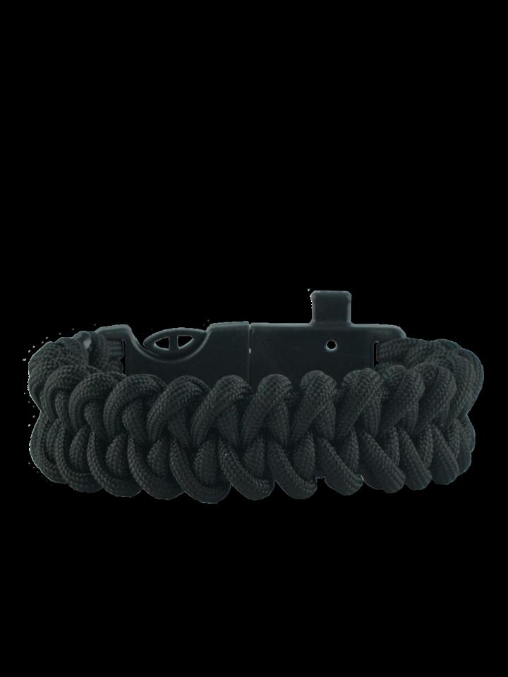 Ausverkauf Schwarzes Paracord Armband mit Feuerschläger, Kompass und Pfeife Shark