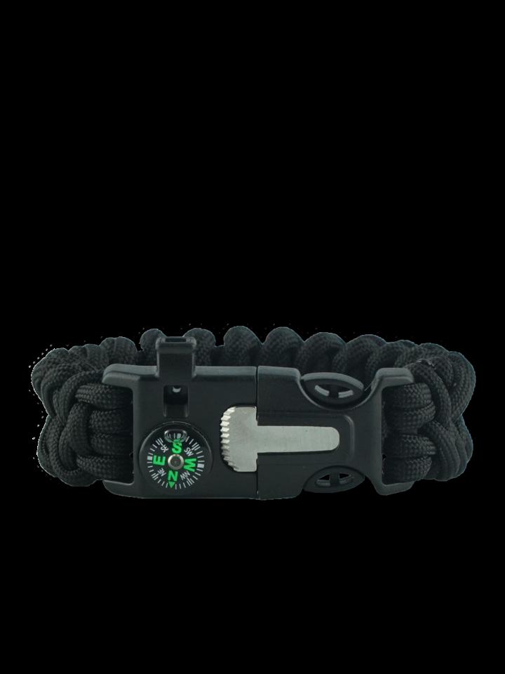 Rabatt Schwarzes Paracord Armband mit Feuerschläger, Kompass und Pfeife Shark