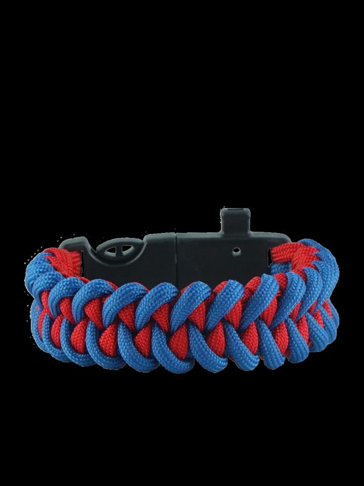 Kiárusítás Kék-piros paracord karkötő tűzcsiholóval, iránytűvel és síppal Shark