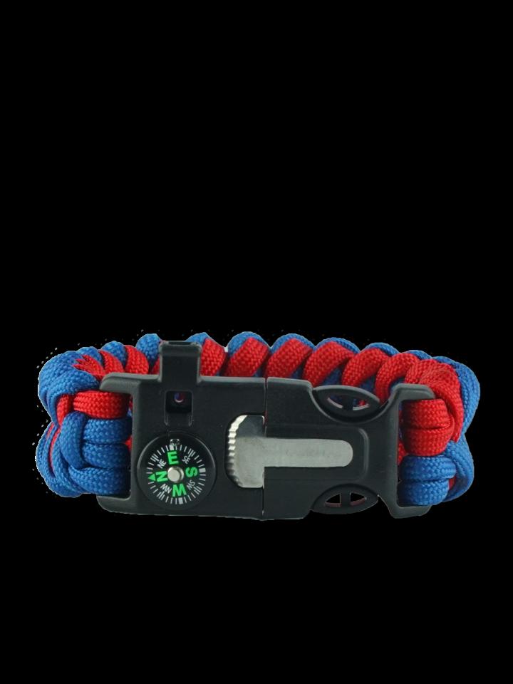 Rabatt Blau-rotes Paracord Armband mit Feuerschläger, Kompass und Pfeife Shark