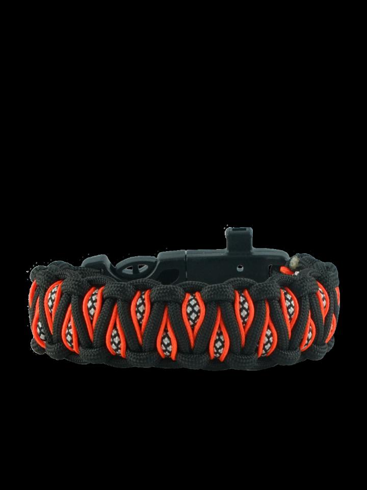 a tökéletes és egyedi ruházathoz Narancssárga-fekete paracord karkötő tűzcsiholóval, iránytűvel és síppal Inachis