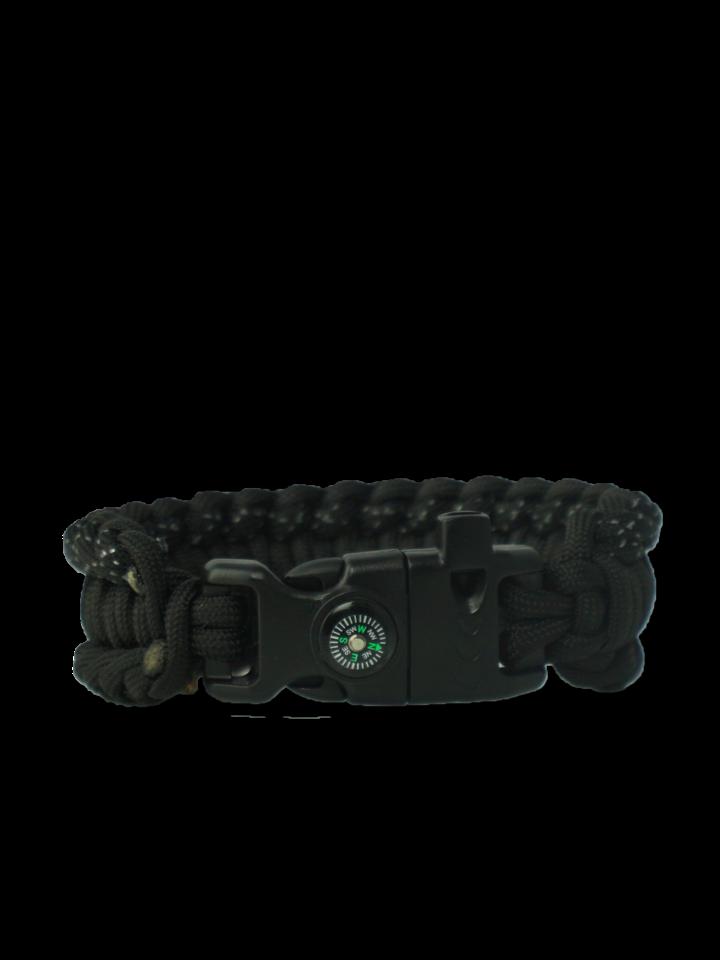 Ausverkauf Schwarzes Paracord-Armband Salvadora mit Anzünder, Kompass und Pfeife