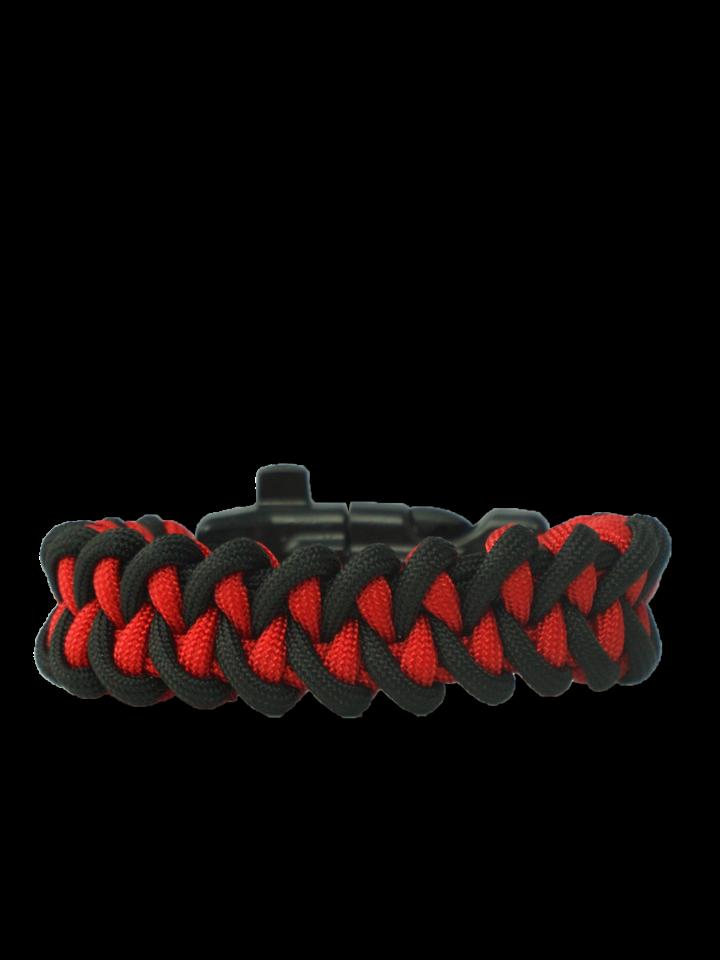 Hľadáte originálny a nezvyčajný darček? Obdarovaného zaručene prekvapí Zwart & rood Paracord-armband Haai met vuurstarter, kompas en fluitje