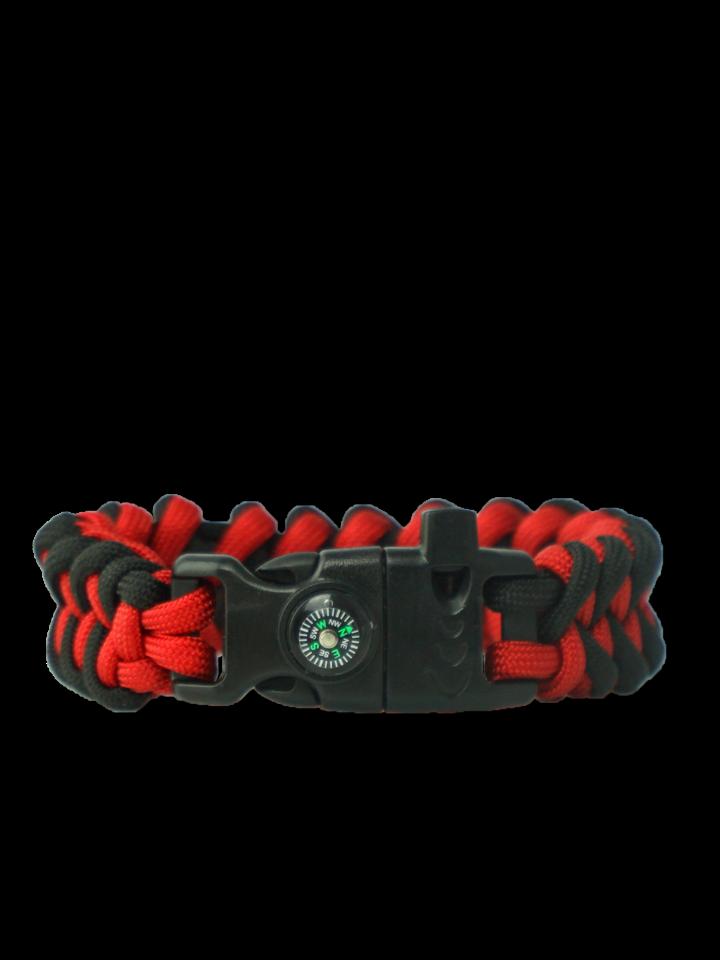 Výpredaj Zwart & rood Paracord-armband Haai met vuurstarter, kompas en fluitje