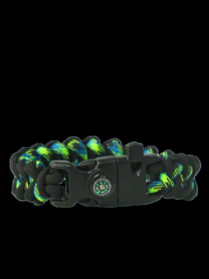 Výnimočný darček od Dedoles Zwart & groen Paracord-armband Haai met vuurstarter, kompas en fluitje