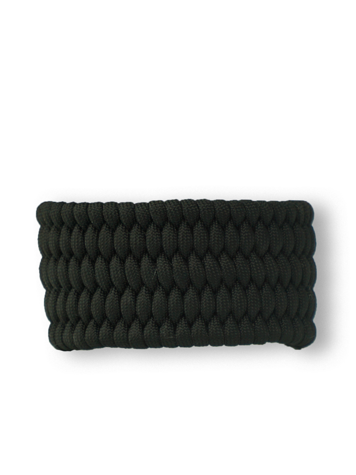 Foto Fekete paracord karkötő Shield tűzkővel és síppal