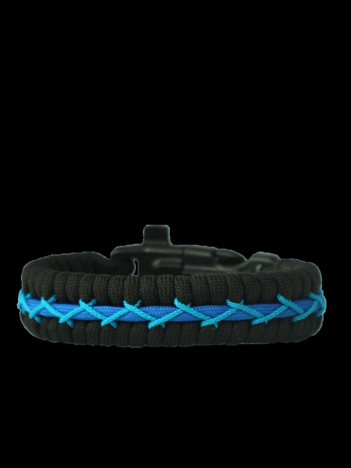 Výnimočný darček od Dedoles Modro-čierny paracord náramok Track s kresadlom, kompasom a píšťalkou