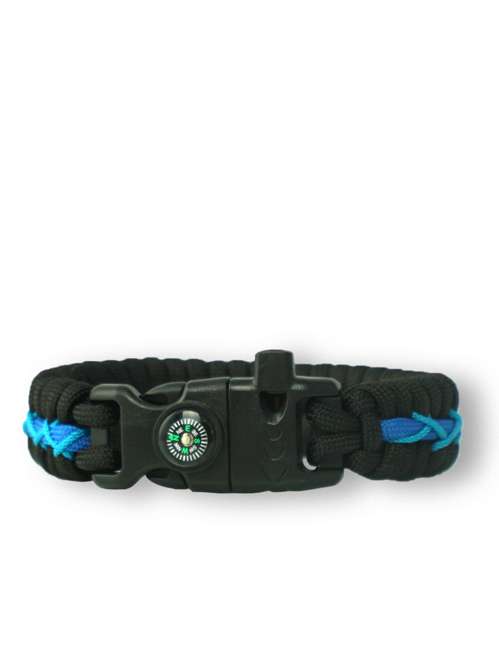 Tip na darček Modro-čierny paracord náramok Track s kresadlom, kompasom a píšťalkou