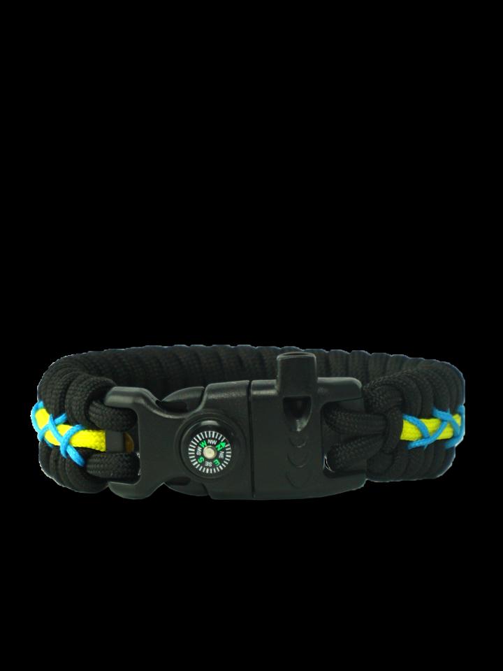Pre dokonalý a originálny outfit Zwart, geel & blauw Paracord-armband Track met vuurstarter, kompas en fluitje