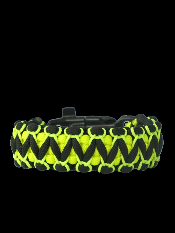 Potešte sa týmto kúskom Dedoles Bracelet en paracorde noir et jaune Viper avec allume-feu, boussole et sifflet