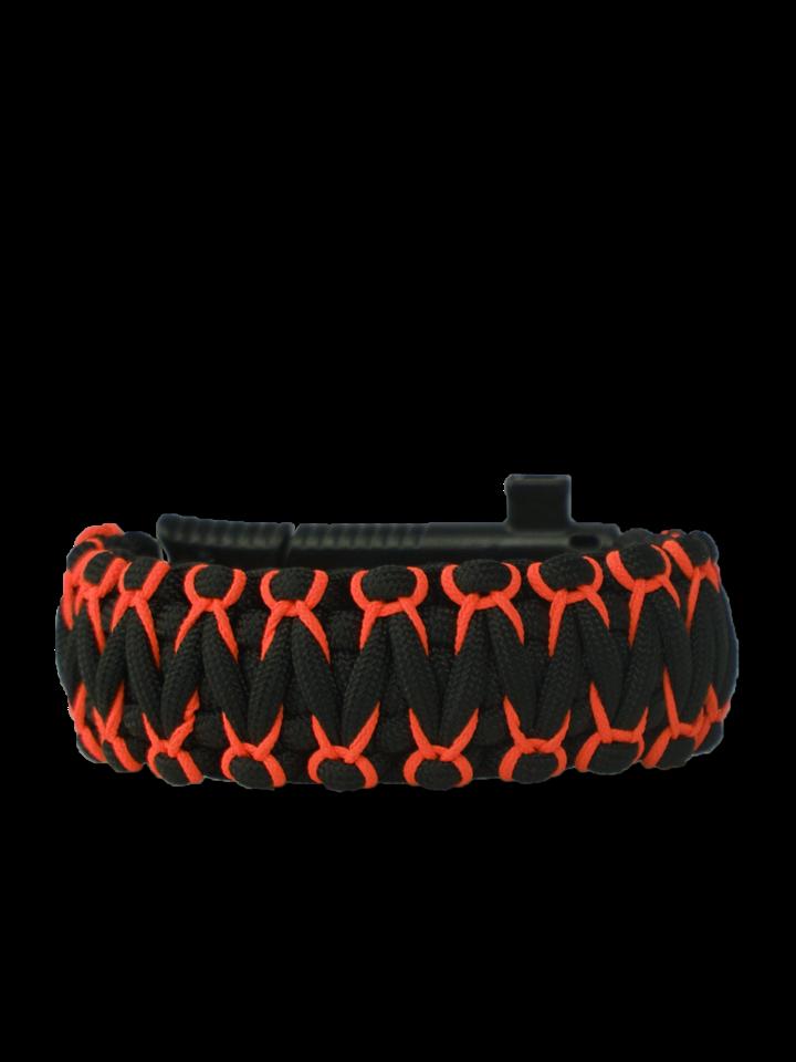Tip na dárek Oranžovo-černý paracord náramek Warrior s nožem, křesadlem, kompasem a píšťalkou