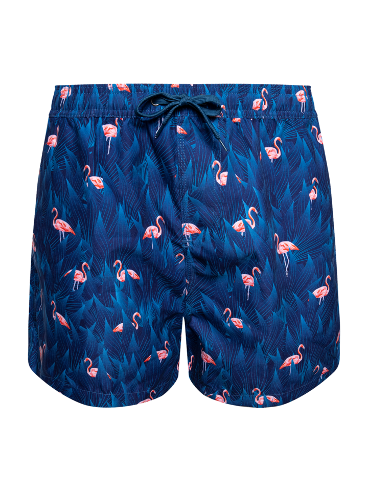 Looking for an original and unusual gift? The gifted person will surely surprise with Men's Swim Shorts Night Flamingo