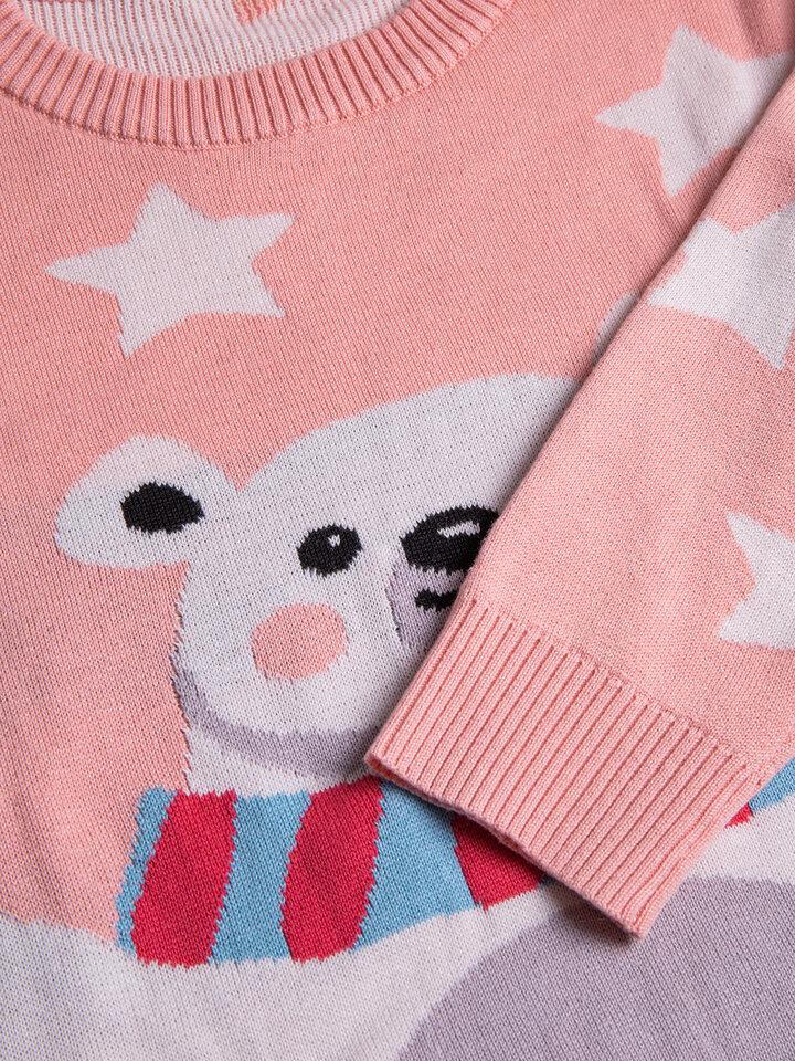 Výpredaj Veseli božični pulover Medved in zvezde