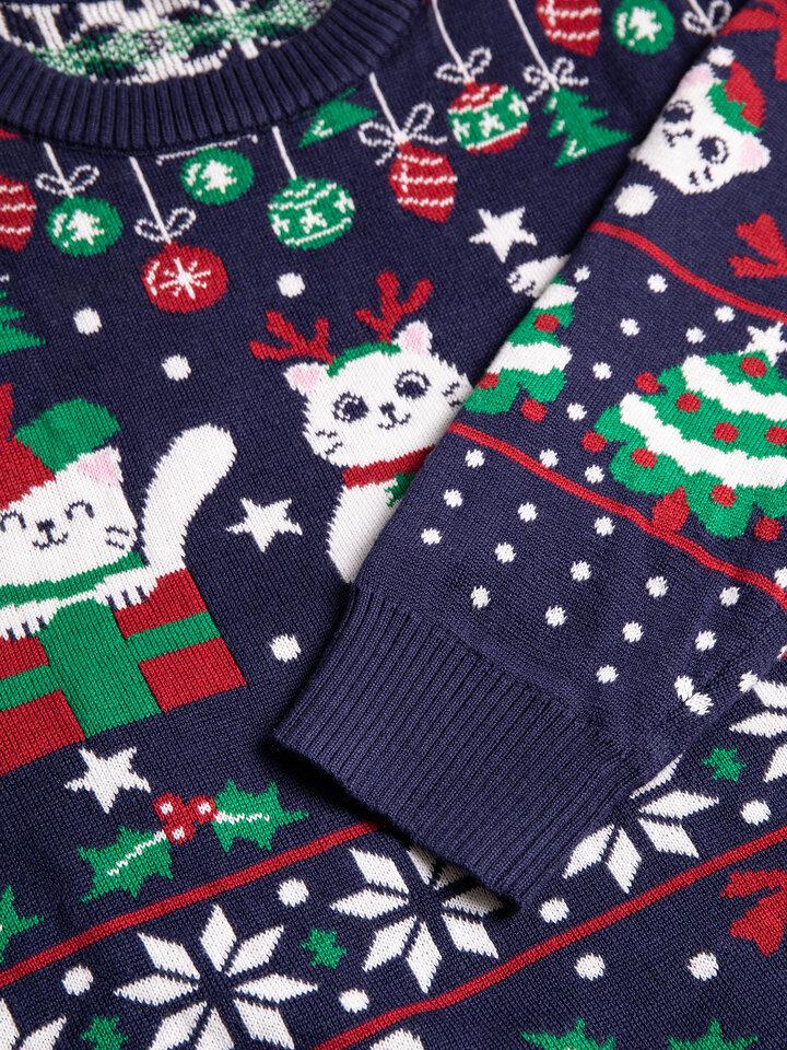 Lifestyle foto Sudadera alegre de Navidad Gatos navideños