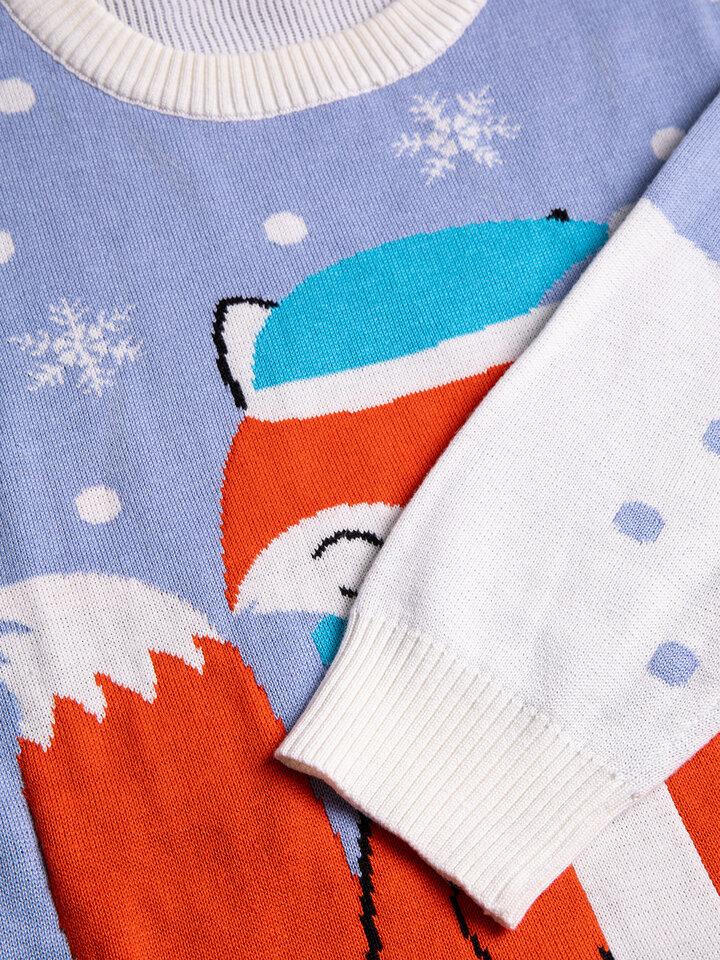 Pre dokonalý a originálny outfit Wesoły sweter świąteczny Zimowy lis