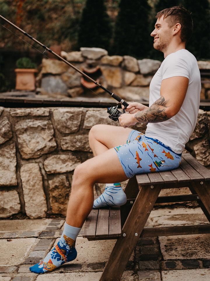 Zdjęcie lifestyle Wesołe bokserki męskie Łowienie ryb