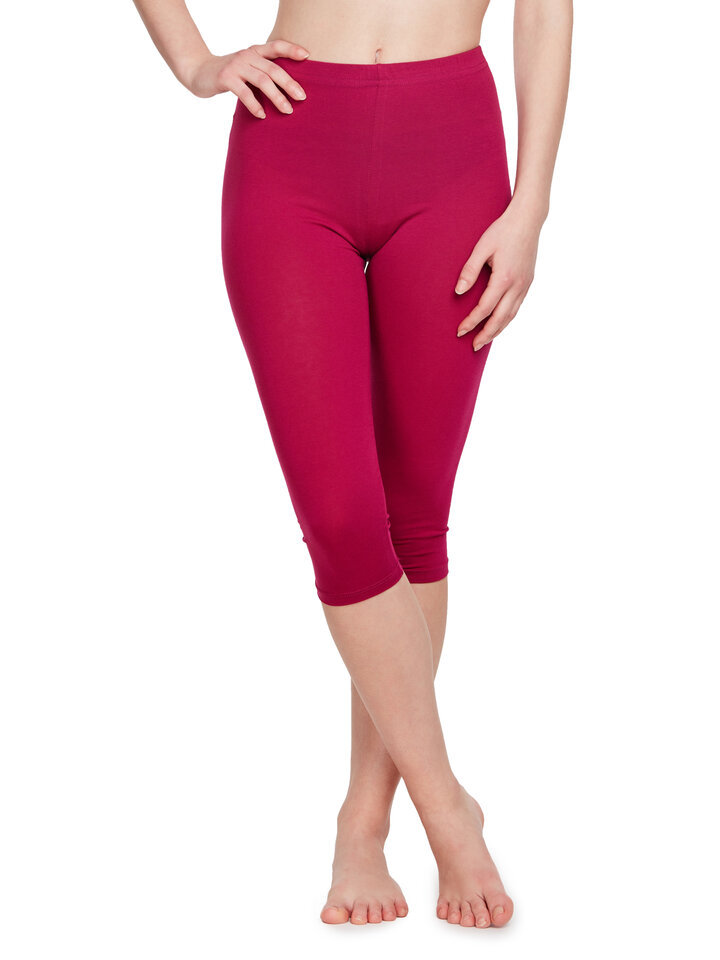 Original gift Cotton 3/4 Leggings Magenta