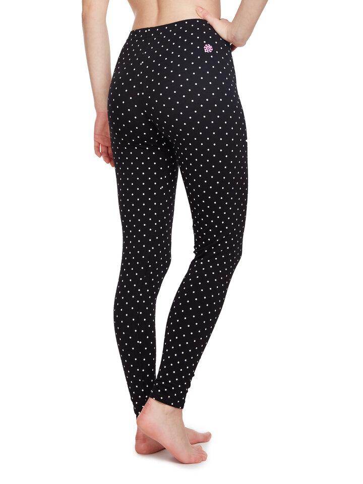 Sale Black Cotton Leggings Dots