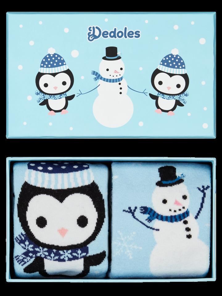 Lifestyle foto Darčeková krabička teplých ponožiek Tučniak a snehuliak