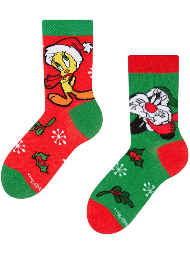 Pre dokonalý a originálny outfit Vesele dječje čarape – Looney Tunes ™, Sylvester i Tweety na Božić