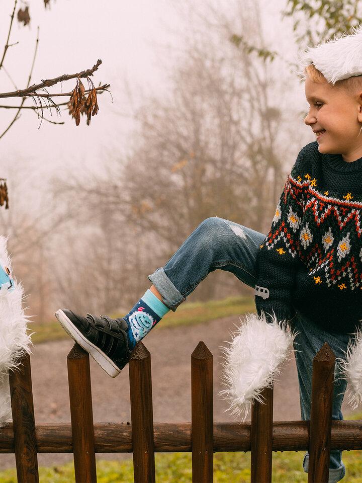 Obrázok produktu Calcetines infantiles alegres de inverno Yeti del bosque
