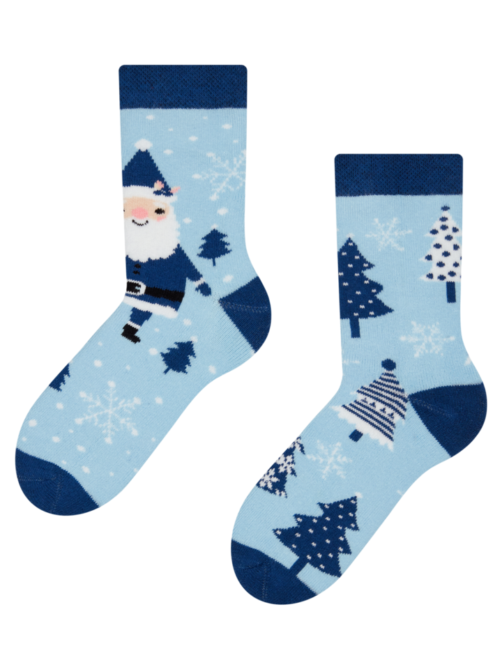 Looking for an original and unusual gift? The gifted person will surely surprise with Kids' Warm Socks Blue Santa