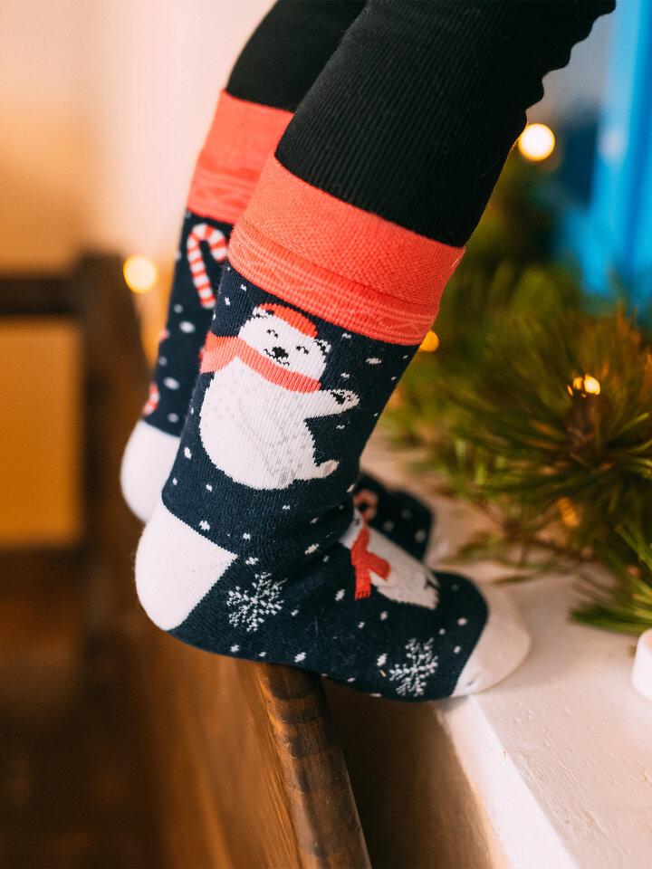 Výpredaj Detské veselé teplé ponožky Vianočný polárny medveď