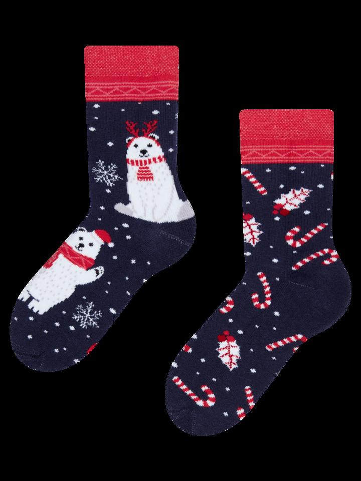 Obrázok produktu Detské veselé teplé ponožky Vianočný polárny medveď
