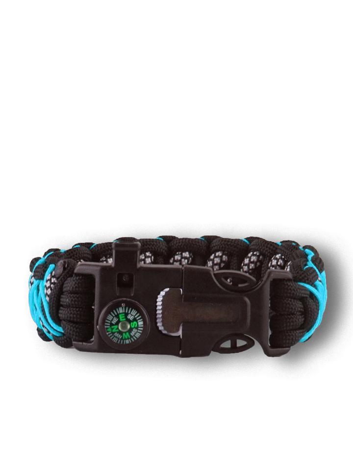 Výnimočný darček od Dedoles Bracelet en paracorde noir et bleu Galaxy avec allume-feu, boussole et sifflet