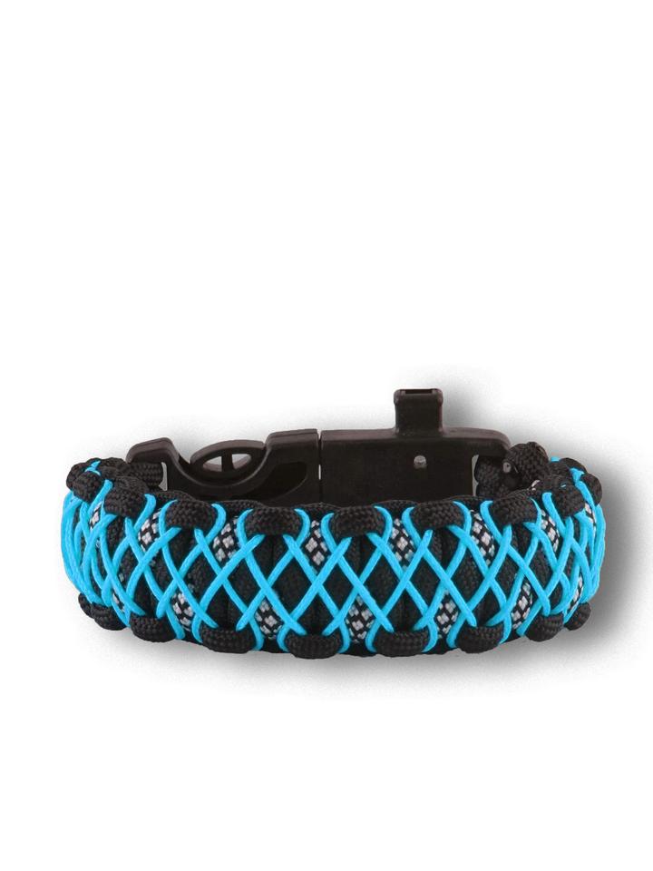 Tip na darček Bracelet en paracorde noir et bleu Galaxy avec allume-feu, boussole et sifflet