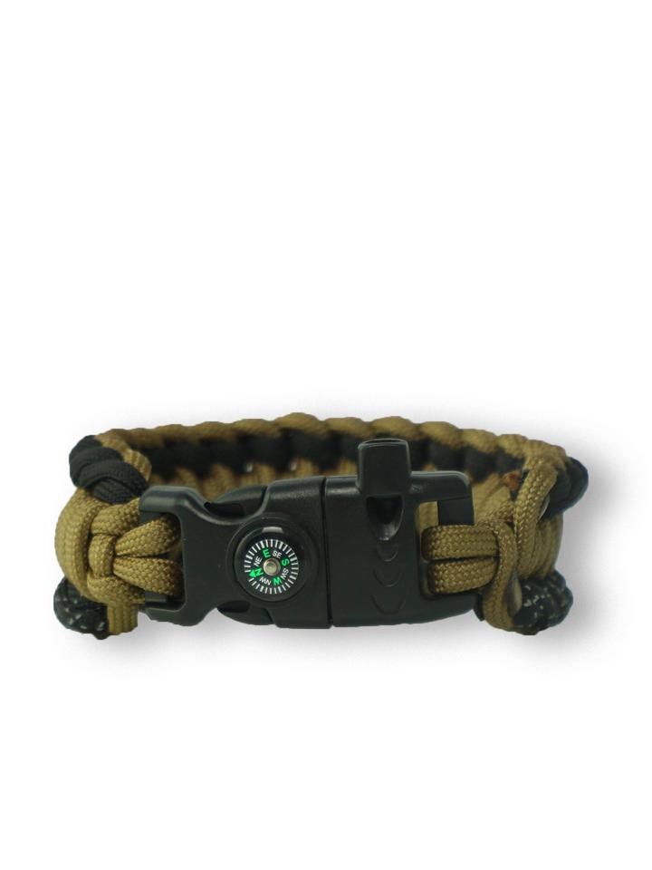 pro dokonalý a originální outfit Paracord náramek Salvadora s křesadlem, kompasem, píšťalkou, reflexcordem a firecordem coyote