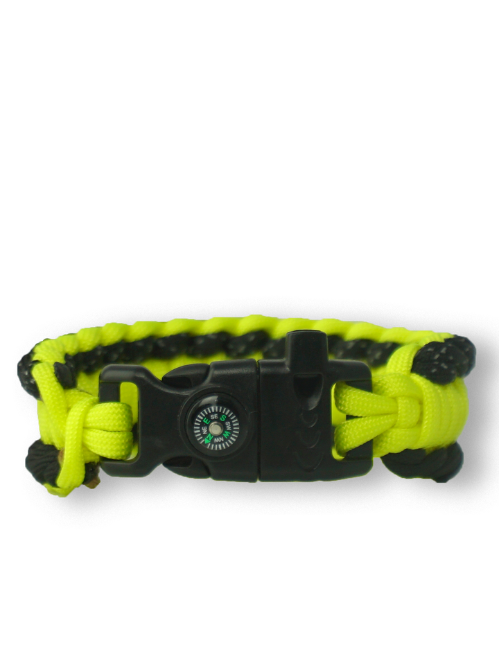 Sale Yellow Paracord Bracelet SalvadoraWith Fire Starter, Compass and Whistle