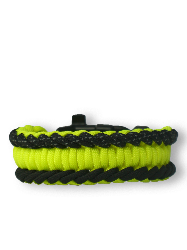 Gift idea Yellow Paracord Bracelet SalvadoraWith Fire Starter, Compass and Whistle