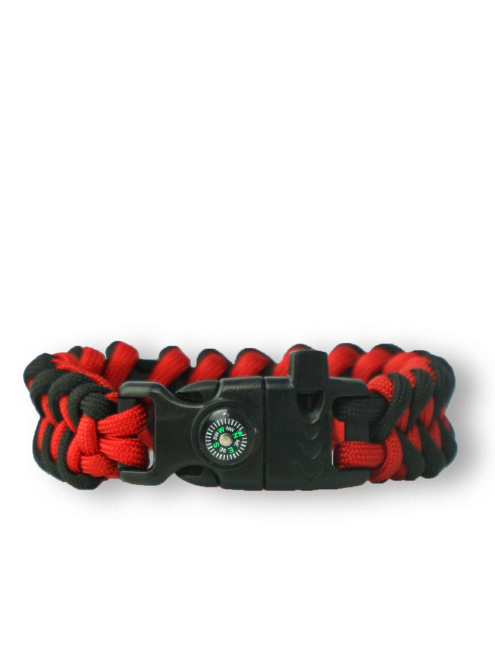 Gift idea Black & Red Paracord Bracelet SharkWith Fire Starter, Compass and Whistle