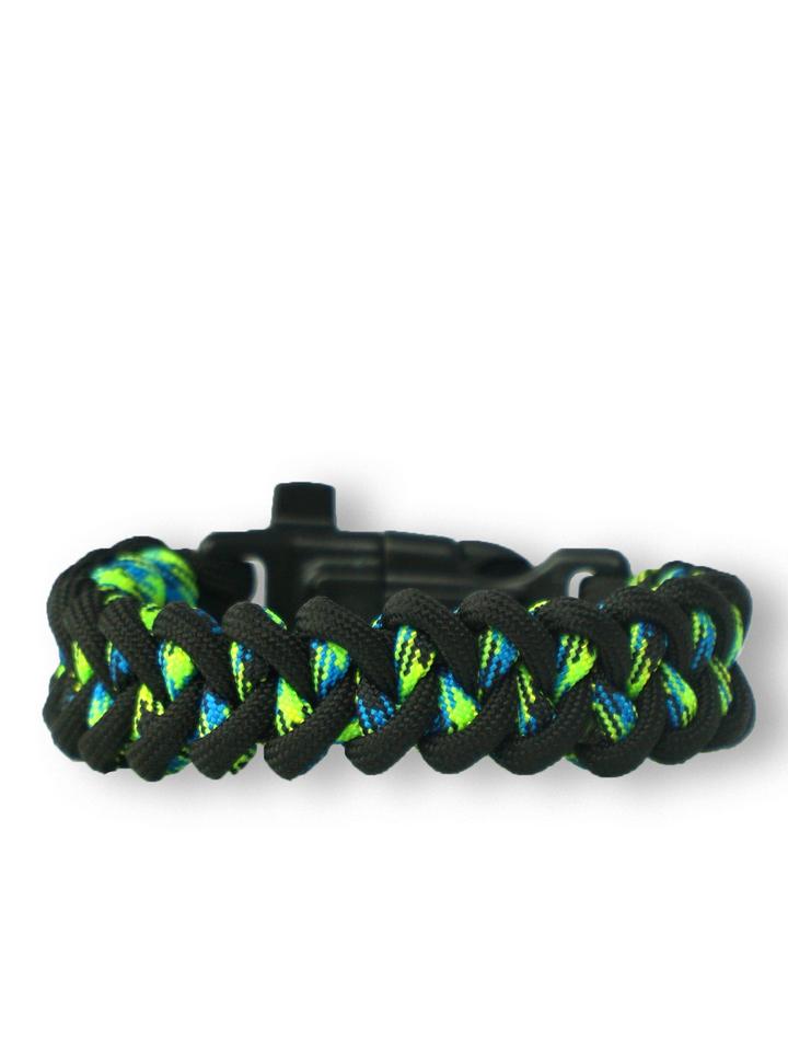 Výnimočný darček od Dedoles Bracelet en paracorde noir et vert Shark avec allume-feu, boussole et sifflet