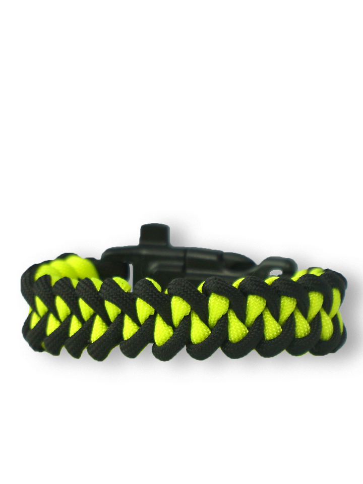 Looking for an original and unusual gift? The gifted person will surely surprise with Black & Yellow Paracord Bracelet Shark  With Fire Starter, Compass and Whistle