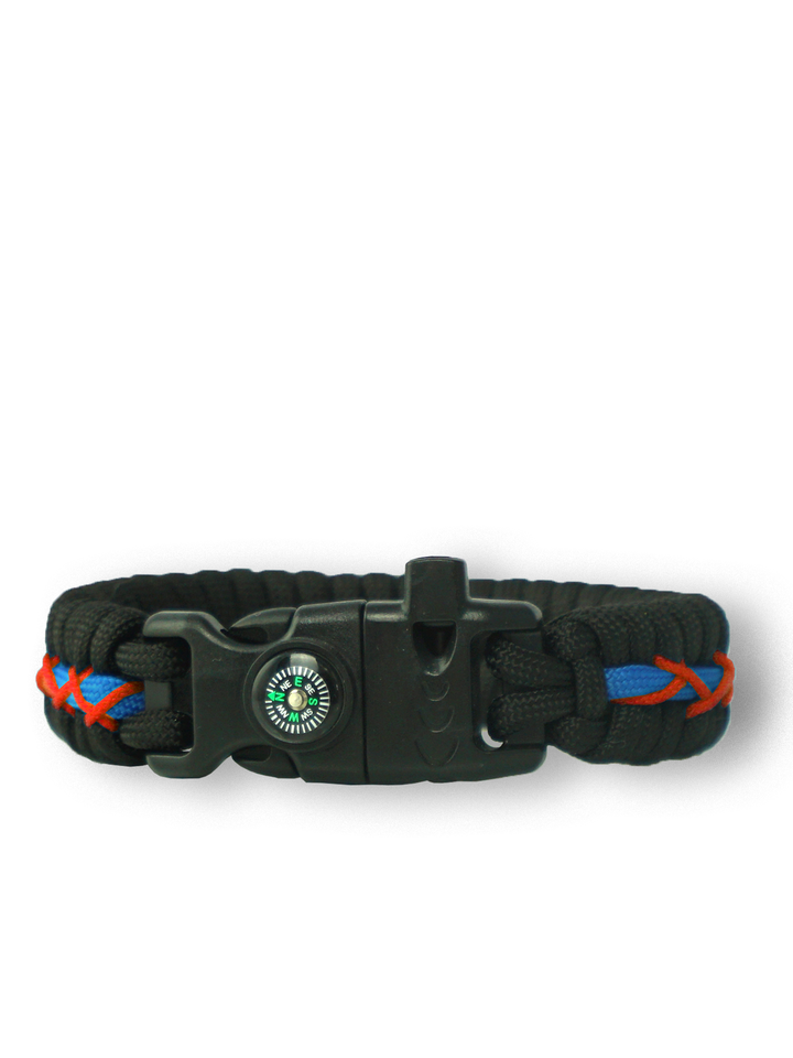 Pre dokonalý a originálny outfit Black, Red & Blue Paracord Bracelet Track With Fire Starter, Compass and Whistle