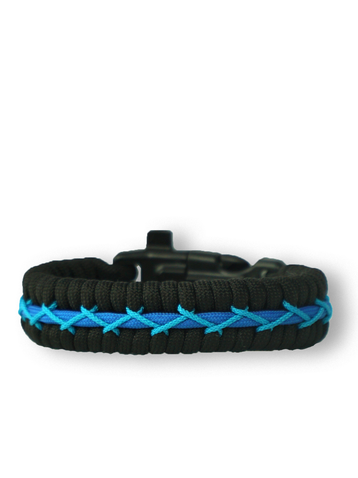 Sale Black & Blue Paracord Bracelet TrackWith Fire Starter, Compass and Whistle